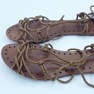 Schütz Brown Gladiator lace up Leather Sandals 7.5